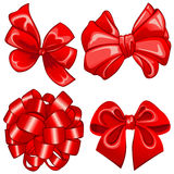 Set with red bows Royalty Free Stock Photos