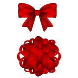 Set of red bows on a white background Royalty Free Stock Image