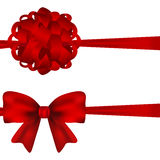 Set of red bows on a white background Royalty Free Stock Photography