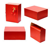 Set of Red box. On white Royalty Free Stock Images