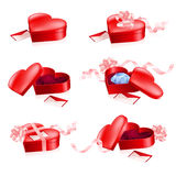Set of Red boxes in heart shape Stock Images