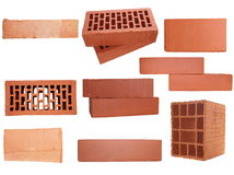 Set red brick isolated on white background Royalty Free Stock Images