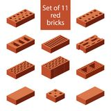 Set of 11 red bricks. Flat 3d isometric vector brick icons. Industrial elements. Building construction materials vector illustration