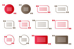 Set of red and brown gradient quotation marks, isolated citation vector symbols on white. Background Royalty Free Stock Photos