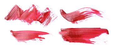 Set of red brush strokes of acrilic paint as sample of art product Royalty Free Stock Photos