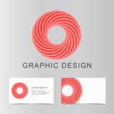 Set of red business abstract circle icon and cards for your desi Royalty Free Stock Photo