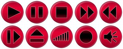 Set of red buttons for music player Royalty Free Stock Photos