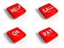 A set of red buttons with text Royalty Free Stock Photo