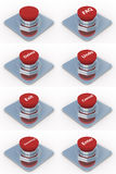 Set red buttons on a white background. Stock Photo