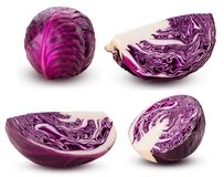 Set red cabbage whole, cut in half, slice in fourth stock photography