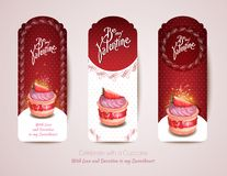 A set of red cake cards. Valentine's Day card Stock Photos