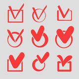 Set of red check marks or ticks Stock Photo