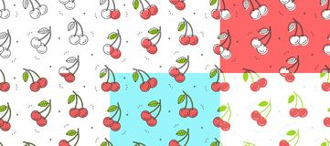 Set of red cherry seamless pattern royalty free illustration