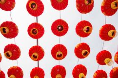 Set of Red Chinese Lanterns Circular. Lamps on White Background royalty free stock photos