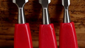 A set of red chisels Stock Image
