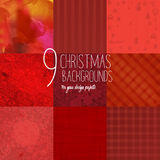 Set of 9 red Christmas backgrounds. For design projects Royalty Free Stock Photo