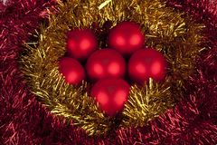 Set or red Christmas balls Royalty Free Stock Image