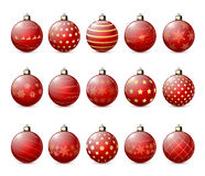 Set of red Christmas balls Royalty Free Stock Images