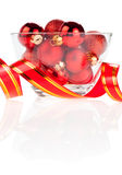 Set of red Christmas balls in the vase and ribbon Royalty Free Stock Photo