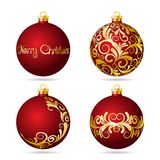Set of Red Christmas balls on white background. Royalty Free Stock Photo