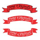 Set of Red christmas banners in hand drawn style. stock illustration