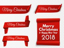 Set of red Christmas banners. Paper scrolls. Vector Stock Image