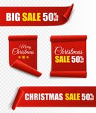 Set of red Christmas banners. Paper scrolls. Vector Xmas sale stickers. Stock Photo