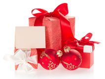 Set of red Christmas decorations whith empty card Stock Photo