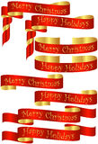 Set of Red Christmas Holiday Banners. With Golden Accents Stock Photos