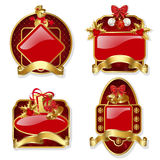 Set from red christmas labels stock illustration