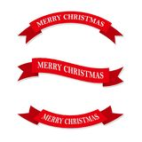 Set of festive ribbons or banners. Vector illustration. Set of red Christmas ribbons or ribbons. Vector illustration. Festive ribbons, isolated on white Stock Photos