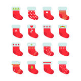Set of red Christmas socks. Christmas stocking collection Royalty Free Stock Images