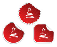 Set of red Christmas stickers with tree Stock Photo