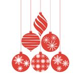 Set of red Christmas tree decorations. Balls with snowflakes and patterns. Design for a holiday greeting card, banner, invitation. Vector illustration Royalty Free Stock Images