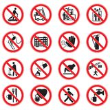 Set Of Red Circle Standard Prohibition Signs. A set of prohibition Red circle prohibition safety signs stock illustration