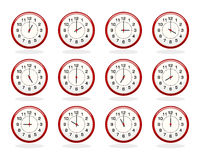 Set of red clocks for business hours Royalty Free Stock Photo
