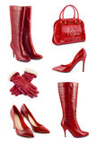 Set of red clothing and accessories Royalty Free Stock Images
