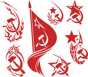 Set of red color soviet symbols Royalty Free Stock Image