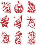 Set of red color soviet symbols Royalty Free Stock Images