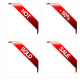 Set of red corner ribbons. (hot, sold, sale royalty free illustration