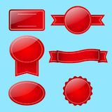 Set of red coupons without text. For advertising, sales. Sale stickers collection. Sale badges. Online shopping, sale and promotion, website and mobile badges Royalty Free Stock Image