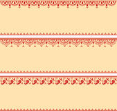 Set of red and cream oriental henna banners Stock Photos