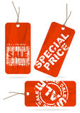 Set of red crumpled sale paper tags Stock Photos
