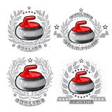 Set of red curling stones in center of silver wreathes. Sport logo for any darts game. Or championship royalty free illustration
