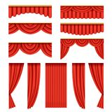 Set of red curtains with pelmets for theater stage. Set of red silk or velvet curtains with pelmets for theater stage. Classical scarlet theater drapery with Royalty Free Stock Photos