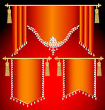 Set of red curtains with precious stones and gold tassels Royalty Free Stock Photos
