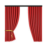 Set of red curtains to theater stage. Mesh vector illustration. Stock Images