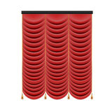 Set of red curtains to theater stage. Mesh vector illustration. Royalty Free Stock Photo