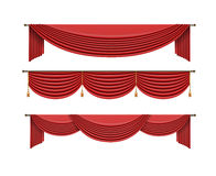 Set of red curtains to theater stage. Mesh vector illustration. stock illustration