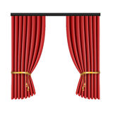 Set of red curtains to theater stage. Mesh vector illustration. Stock Photography